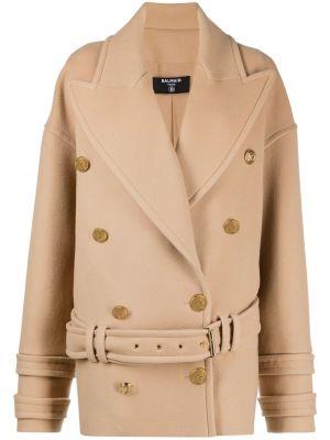 Кашемировое длинное пальто на пуговицах Balmain