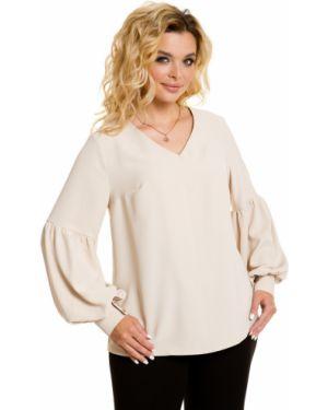 Блузка с V-образным вырезом шелковая Novita