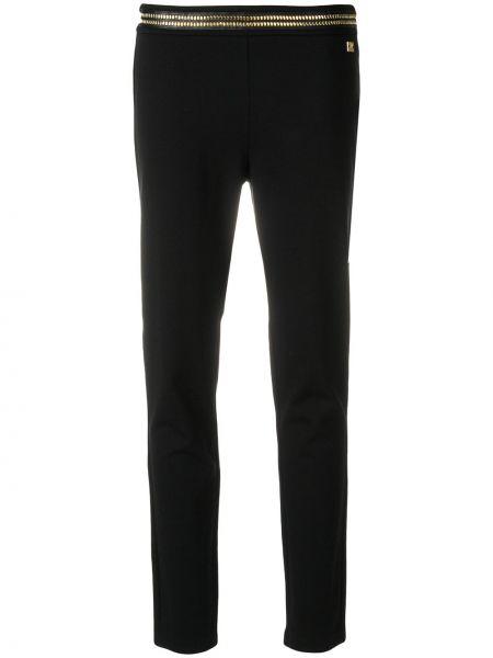 Хлопковые черные брюки с высокой посадкой Cavalli Class
