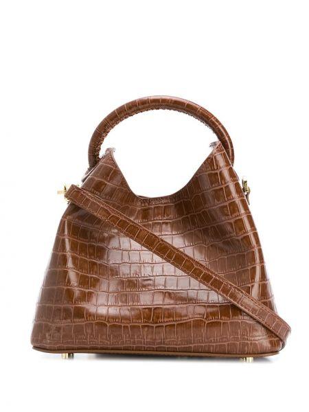 Z paskiem brązowy skórzana torebka z prawdziwej skóry wytłoczony Elleme