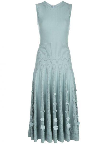 Prążkowana niebieska sukienka z wiskozy Oscar De La Renta