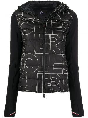 Черная пуховая длинная куртка с капюшоном Moncler Grenoble