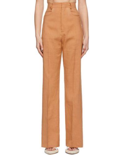 Pomarańczowe spodnie wełniane z paskiem Jacquemus