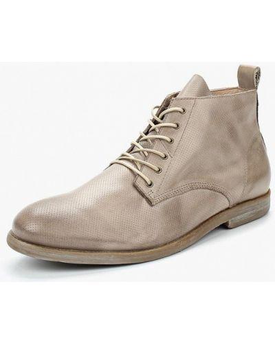 Бежевые кожаные ботинки Nobrand