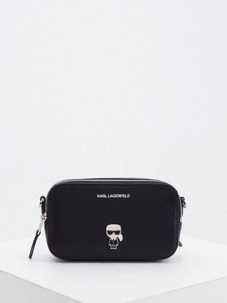 Кожаная сумка через плечо черная Karl Lagerfeld