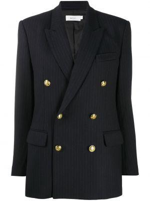 Синий удлиненный пиджак двубортный с карманами A.l.c.