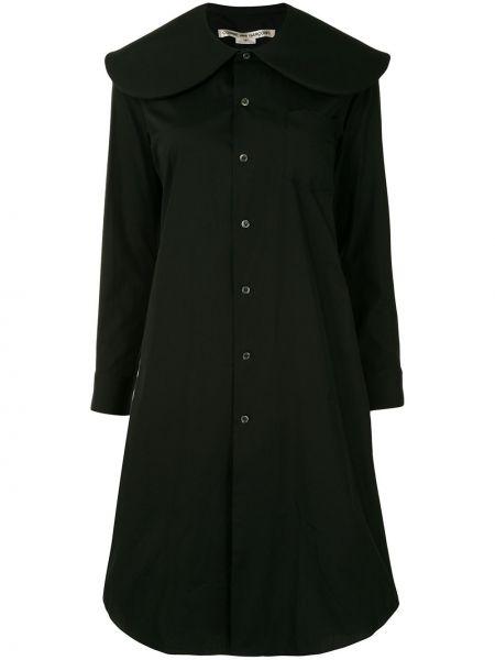 С рукавами хлопковое черное платье миди на пуговицах Comme Des Garçons