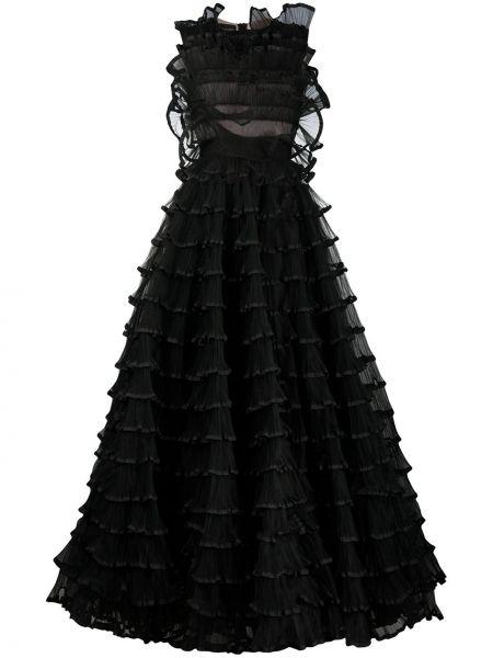 Шелковое черное вечернее платье с вырезом Giambattista Valli