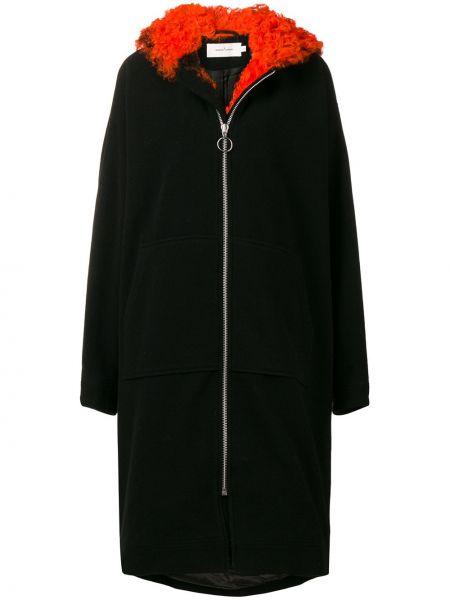 Черное кожаное длинное пальто с капюшоном Marques'almeida