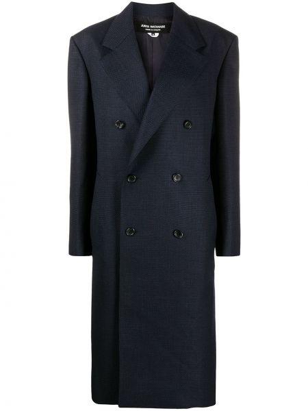 Синее шерстяное длинное пальто двубортное Junya Watanabe