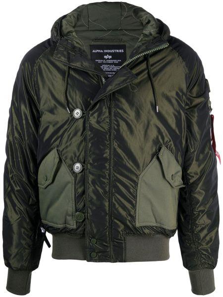 С рукавами зеленая стеганая длинная куртка Alpha Industries