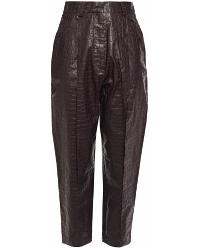 Красные кожаные брюки с поясом Beaufille