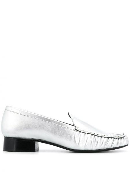 Кожаные лоферы с квадратным носком на каблуке Nicole Saldaña