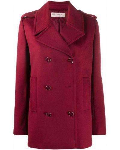 Красное шерстяное длинное пальто двубортное Emilio Pucci