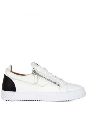 Białe sneakersy skorzane na obcasie Giuseppe Zanotti
