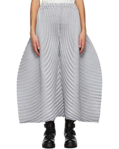 Брючные шерстяные серые плиссированные брюки Issey Miyake