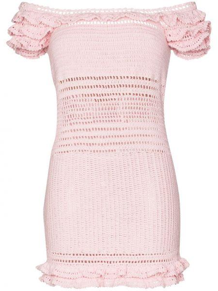 Открытое с рукавами розовое платье мини She Made Me