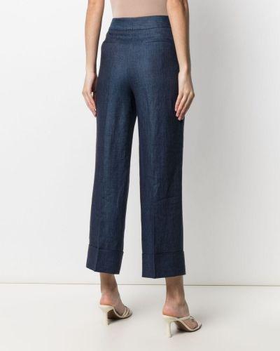 Синие прямые с завышенной талией брюки Incotex