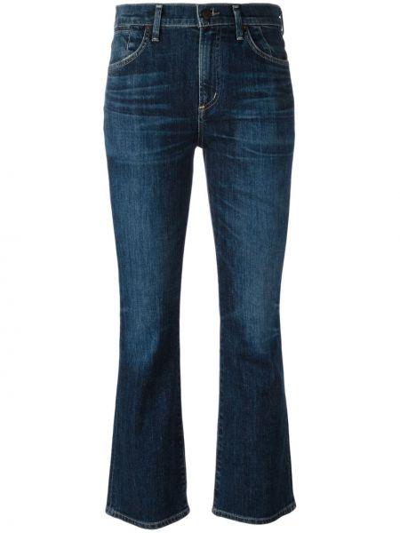 Укороченные джинсы расклешенные синие Citizens Of Humanity