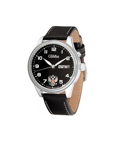 Часы водонепроницаемые механические с черным циферблатом Слава