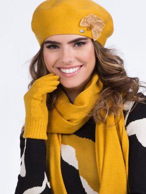 Żółty beret wełniany Kamea