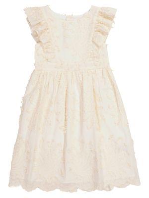 Хлопковое белое платье с вышивкой Bonpoint