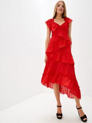 Повседневное платье красный осеннее Three Floor