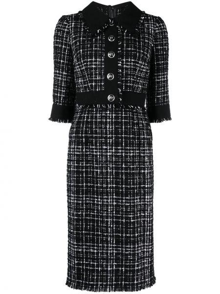 Шерстяное черное платье миди с воротником Dolce & Gabbana
