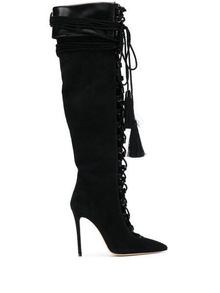 Сапоги на шпильке черные на шнуровке Aleksander Siradekian