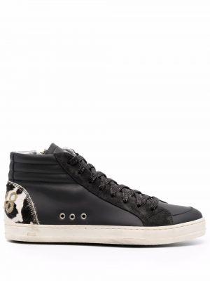 Черные кожаные кроссовки P448