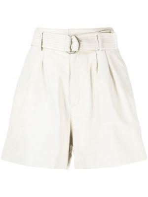 Белые кожаные шорты с карманами P.a.r.o.s.h.