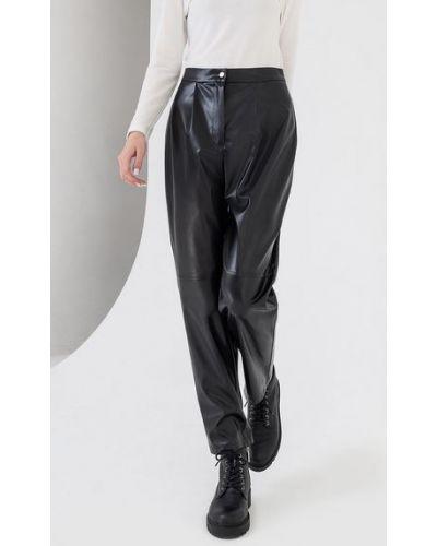 Черные зауженные кожаные укороченные брюки Vovk