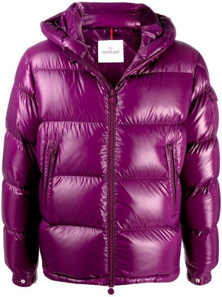 Puchaty klasyczny fioletowy kurtka z kapturem z kieszeniami Moncler