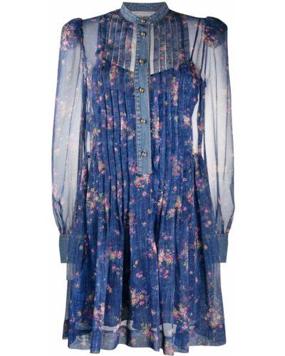 Синее пышное платье на пуговицах с воротником Philosophy Di Lorenzo Serafini