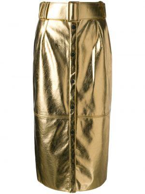 Желтая с завышенной талией юбка миди в рубчик с поясом Msgm