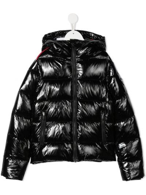 С рукавами черная куртка с капюшоном на молнии Rossignol Kids