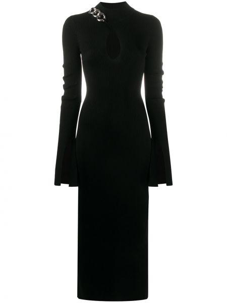 Wyposażone czarny długo sukienka z wiskozy z długimi rękawami Alexander Wang