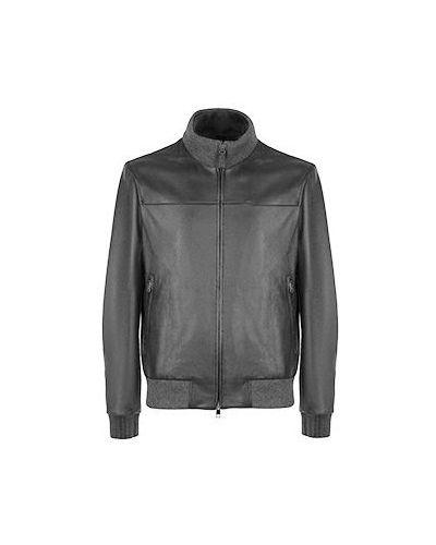 Серая кожаная куртка Brioni