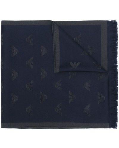 Синий шарф шерстяной Emporio Armani