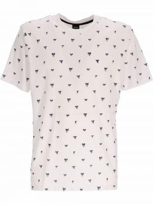 Biała t-shirt z printem Boss Hugo Boss