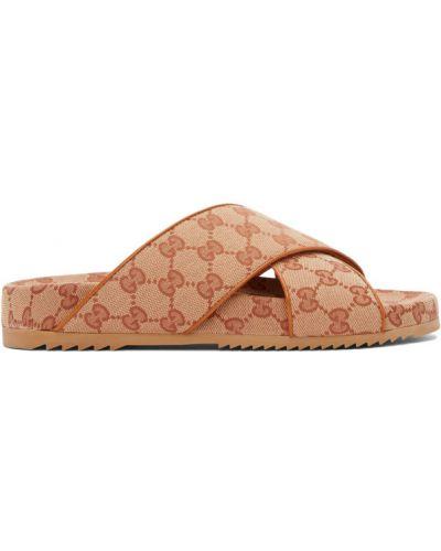 Brązowy skórzany skórzany sandały okrągły na paskach Gucci