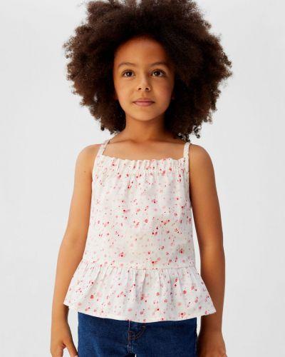 Блуза с вырезом белая Mango Kids