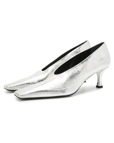 Серебряные кожаные туфли с подкладкой Proenza Schouler