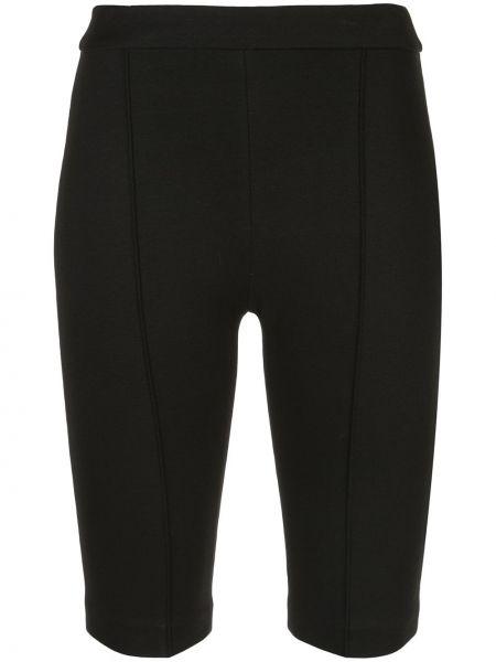 Приталенные черные спортивные шорты из вискозы Rosetta Getty