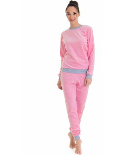 Домашний костюм велюровый розовый Lacywear