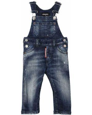 Синий джинсовый комбинезон стрейч Dsquared2