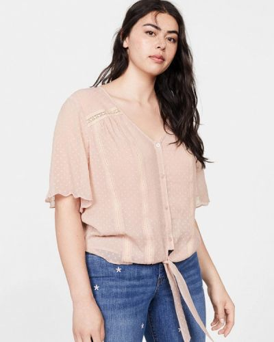 Блузка с коротким рукавом розовая Violeta By Mango