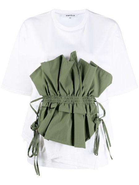 Bawełna prosto koszula z krótkim rękawem khaki okrągły dekolt Enfold