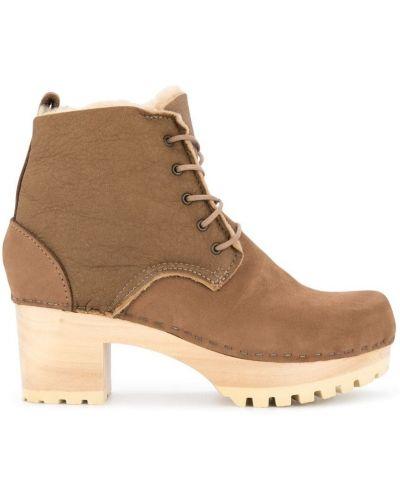 Шерстяные ботинки на каблуке на шнуровке на каблуке No.6