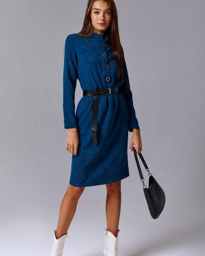 Платье миди вельветовое - синее Gepur